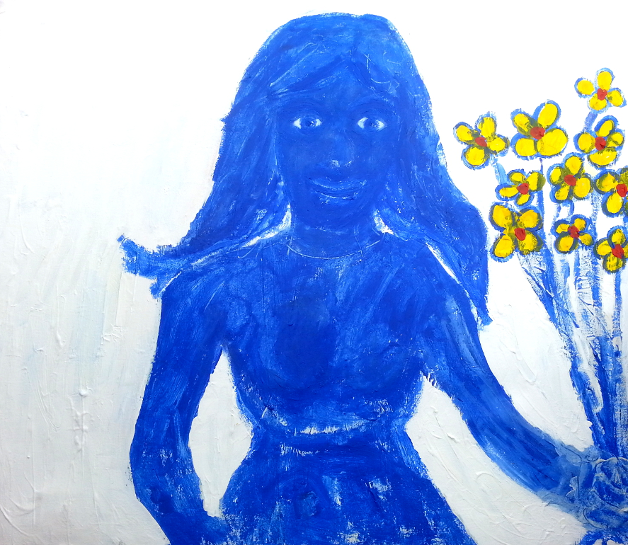Blue-Woman-with-yellow-flowers