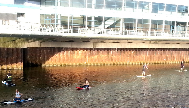 Paddling standing up on the Taff