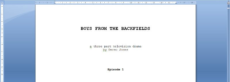 A couple of television scripts Work in Progress