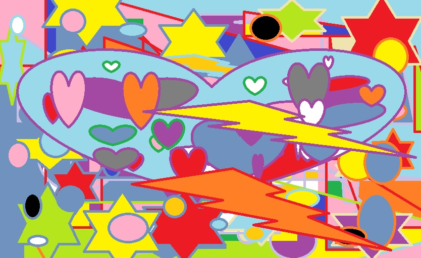Flashes Stars Hearts - Paint Art