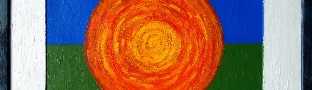 Abstract acrylic painting - orange circle on blue and green